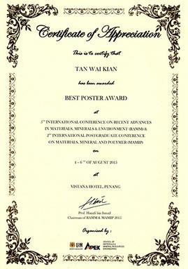 5th RAMM, Best Poster Award