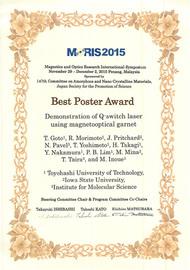 MORIS2015 Best Poster Award