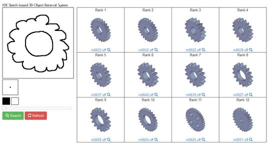 図2: スケッチから3Dモデル(機械部品)の検索事例